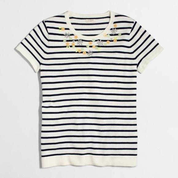 J. Crew Embellished short-sleeve striped sweater